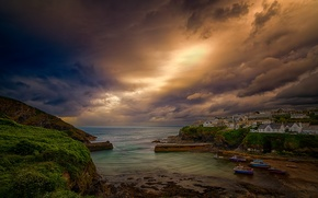 Picture the sky, clouds, the city, England, home, Bay, Cornwall, port Isaac