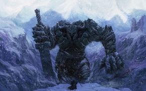 Picture winter, snow, people, sword, warrior, giant