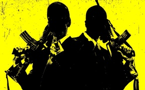 Picture weapons, trunks, gun, costume, men, yellow background, killer, machines, cruel, movie Kane and Lynch, puhi, …