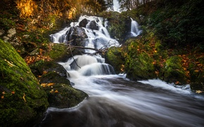 Picture autumn, forest, waterfall, river, Sweden