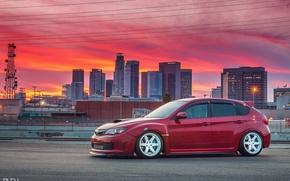 Picture city, turbo, red, wheels, subaru, sky, japan, wrx, impreza, jdm, tuning, power, sti, low, town, …