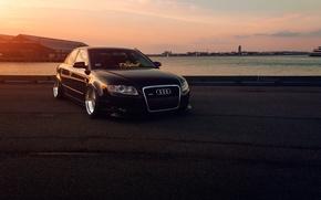 Picture Audi, Front, Black, Sunset, Stance, Slammed, Vehicle