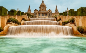 Picture the sky, water, Museum, Spain, cascade, Palace, Barcelona