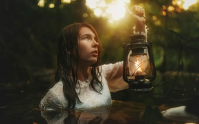 Picture girl, lamp, in the water, TJ Drysdale, Daylight Goodbye