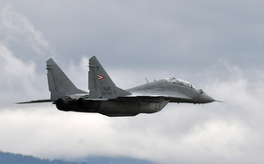 Wallpaper Photo, Flight, The sky, The MiG-29, Multipurpose, Clouds, Height, Fighter, The plane