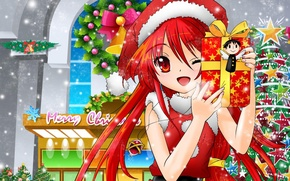Picture mood, holiday, new year, stars, anime, gifts, tree, Shakugan no Shana