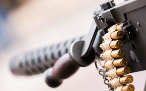 Picture macro, cartridges, machine gun, easel, Browning M2