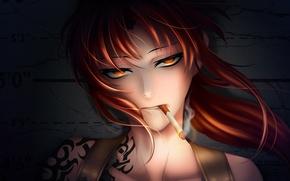 Picture girl, smoke, anime, art, cigarette, tattoo, black lagoon, revy, pirates of the black lagoon, hiroe …