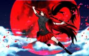 Picture Girl, katana, red, moon., Blood C, Saya Kisaragi