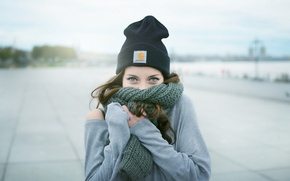 Picture look, hat, Girl, scarf, brown hair
