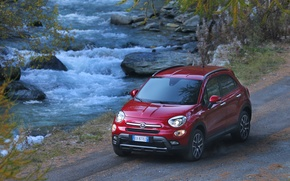 Picture Red, Side, Background, Fiat, River, Left, Cross, 500X, (2015)
