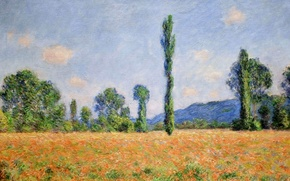 Picture landscape, picture, Claude Monet, Field of poppies at Giverny