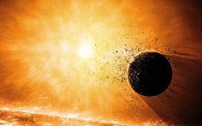 Picture the explosion, planet, destruction
