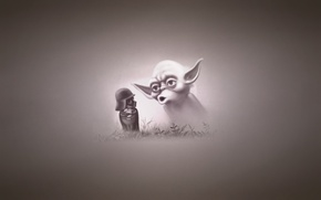 Picture grass, minimalism, star wars, parody, star wars, Darth Vader, yoda, hedgehog in the fog, Darth …