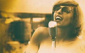 Picture microphone, singer, Jazz, Vintage