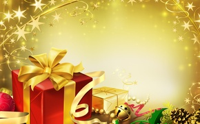 Wallpaper new year, vector, gifts