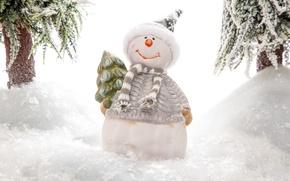 Picture snow, scarf, snowman, tree, cap, figure