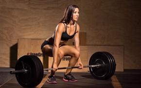 Wallpaper Crossfit, sport, girl, fitness, rod, training, woman