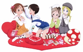 Picture surprise, pillow, glasses, white background, bag, art, friend, ichigo mashimaro, matsuri sakuragi, miu matsuoka, chika …