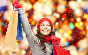Picture girl, joy, smile, scarf, package, bag, cap, mittens, purchase