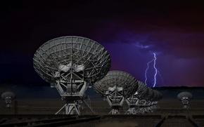 Picture night, lightning, antenna