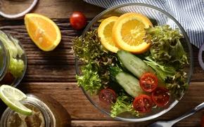 Picture orange, cucumber, vegetables, tomato, salad