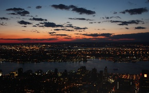 Picture clouds, sunset, night, the city, New York, Bay