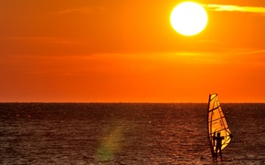 Wallpaper windsurfer, horizon, extreme sports, sea, yellow, male, adventure, Windsurfing, solar, sunset