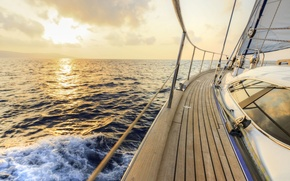 Wallpaper yacht, tourism, ship, squirt, sea, wave, track, summer, sky, space, stay, yacht, speed, marine, the ...