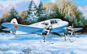 Picture As-6M, snow, art, winter, Soviet, transport, field, ski, the plane, the airfield