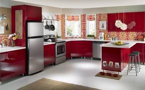 Picture flower, flowers, design, style, interior, kitchen, red