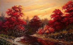 Picture autumn, the sky, water, trees, landscape, birds, Wallpaper, paint, shore, foliage, picture, river, painting, Khodukov