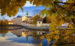 Picture autumn, reflection, the city, home, Czech Republic, foliage.the bridge