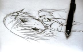 Picture figure, pencil drawing, yuno, hidamari sketch