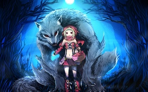Picture forest, night, the moon, basket, wolf, little red riding hood, art, girl, basket, little red …
