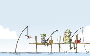 Wallpaper humor, caricature, Wulffmorgenthaler, bait, fishermen