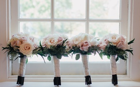 Picture flowers, roses, window, wedding, bouquets