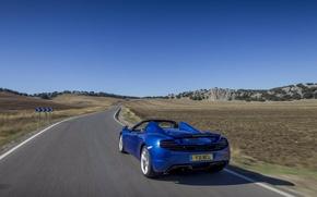 Picture road, blue, movement, tuning, spider, spoiler, rear view, spider, McLaren, Mclaren MP4-12C