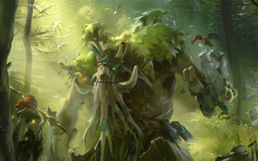 Picture green, forest, tree, valve, dota 2, enchantress, treant protector