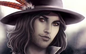 Picture hat, feathers, Male