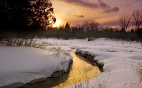 Picture snow, sunset, reflection, stream