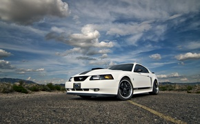 Picture Mustang, Ford, white, road, 2004