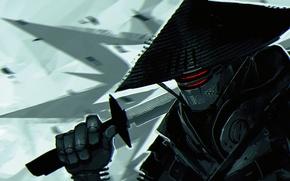Picture robot, sword, katana, samurai, cyborg, cyberpunk