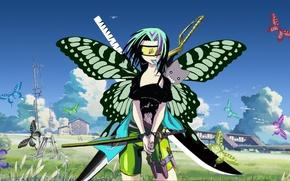 Picture grass, girl, clouds, butterfly, nature, home, anime, art, knives, swords, Bleach, Naruto, katana, Haruno Sakura, …