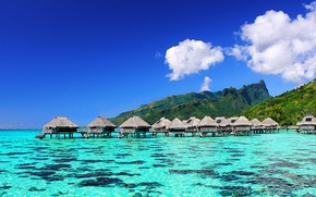 Picture sea, clouds, mountains, corals, Bungalow, blue sky, Bora Bora