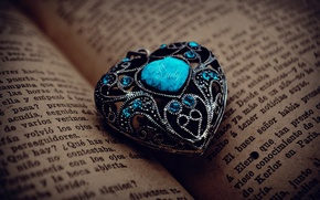 Wallpaper metal, pattern, stone, heart, pendant, book, page, turquoise