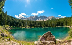 Picture forest, clouds, lake, stones, Sunny, Lake Carezza, trees