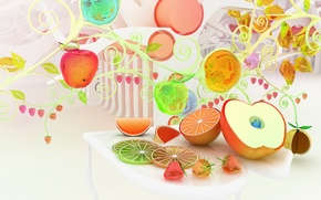 Picture apples, oranges, strawberry, fruit, colorful, Chromatic fruits