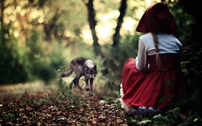 Picture FOREST, RED, GREY, DRESS, GIRL, SUNDRESS, WOLF, CAP