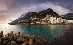 Picture sea, the sky, mountains, background, Wallpaper, building, home, Italy, Coast, wallpapers, italy, Amalfi, Amalfi Coast
